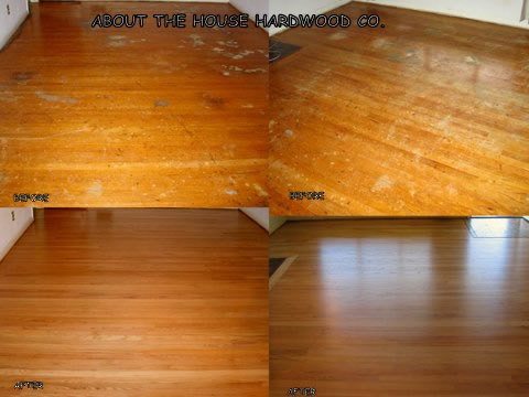 About the house hardwood floor refinishing photos for Before and after flooring